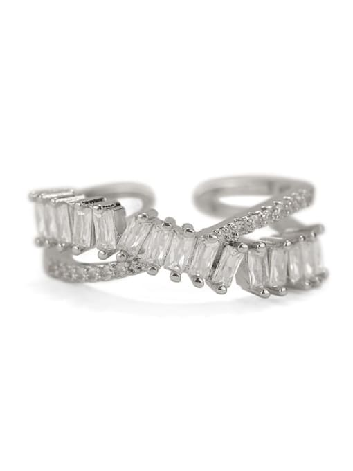 ACCA Brass Cubic Zirconia Geometric Vintage Band Ring 4