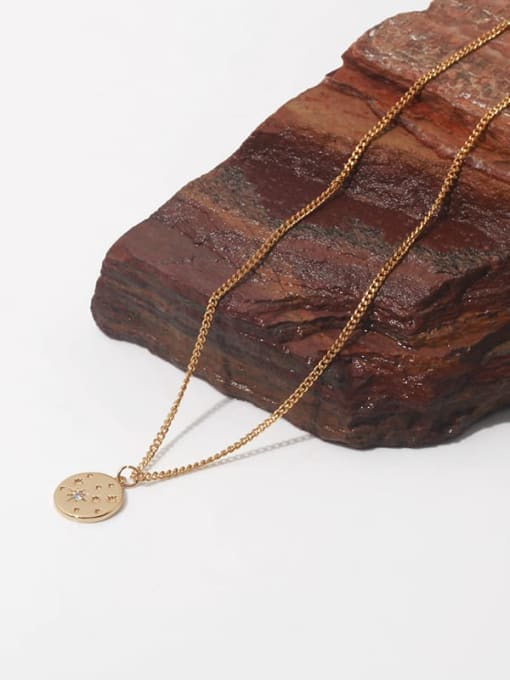 TINGS Brass Star Minimalist Hollow Round Pendant Necklace