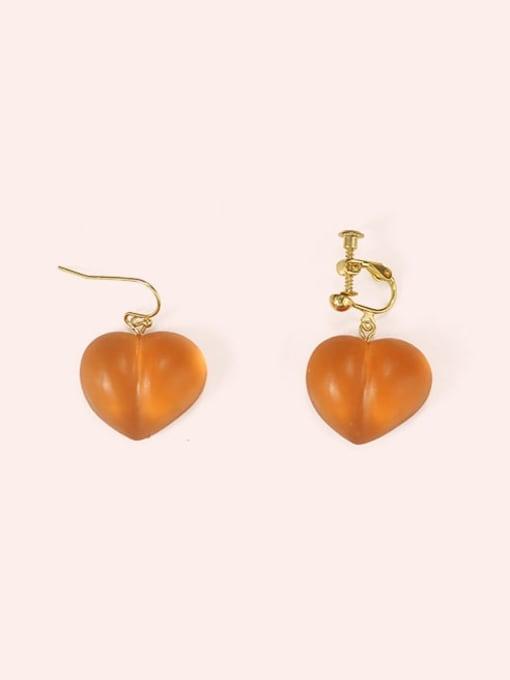 Five Color Alloy Resin Heart Cute Hook Earring 0