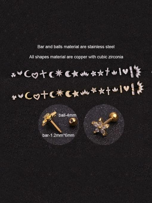 HISON Brass Cubic Zirconia Ball Hip Hop Stud Earring 1