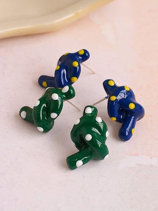 Five Color Brass Enamel  knot Minimalist Stud Earring 1