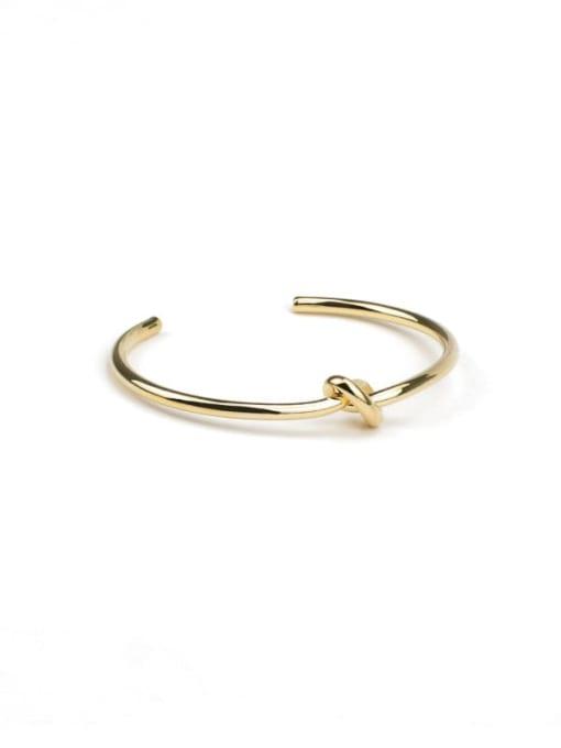 Five Color Brass Geometric knot Minimalist Cuff Bangle 0