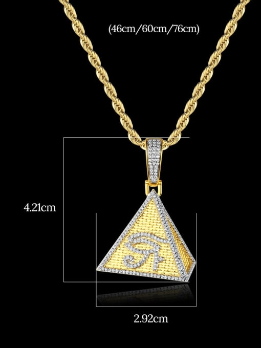Teem Men Brass Cubic Zirconia Triangle Hip Hop Necklace 2