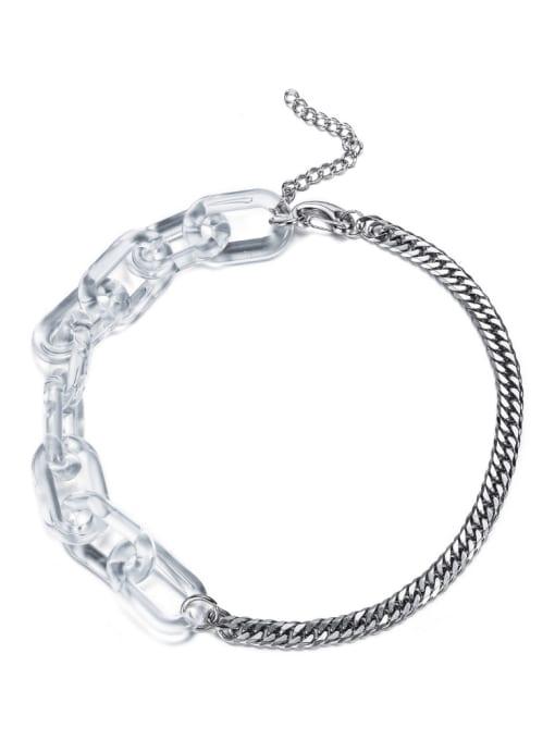 WOLF Titanium Steel Geometric Hip Hop Long Strand Necklace