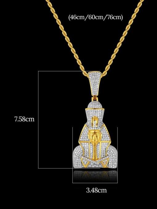 Teem Men Brass Cubic Zirconia Irregular Hip Hop Regligious Necklace 1
