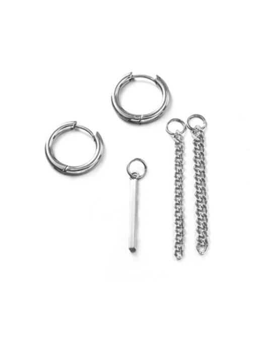 WOLF Titanium Steel Geometric  Chain Hip Hop Single Earring(Single only one) 3