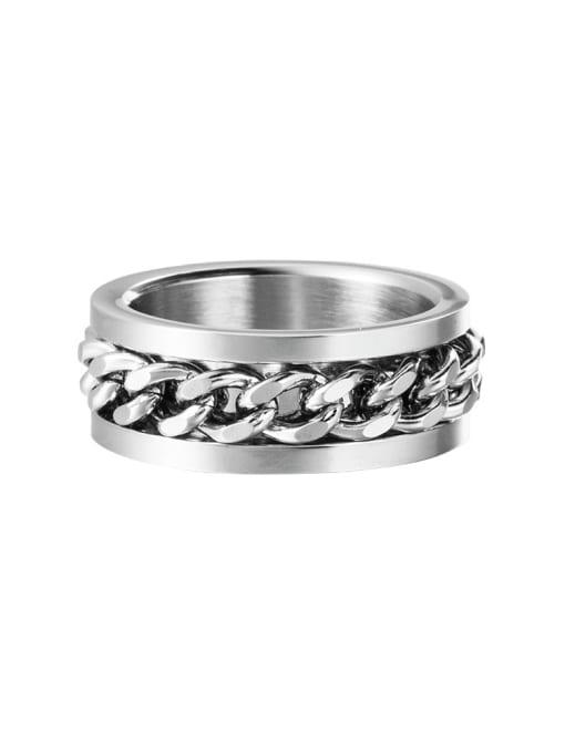 WOLF Titanium Steel Irregular Vintage Band Ring