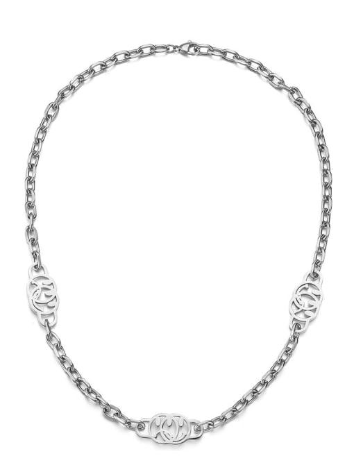 Steel color Titanium Steel Smiley Hip Hop Necklace