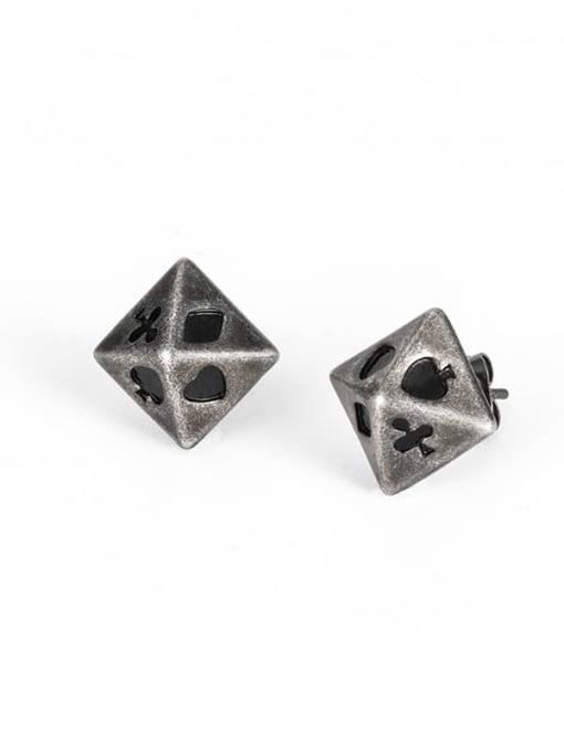 Ancient Titanium Steel Enamel Geometric Vintage Stud Earring