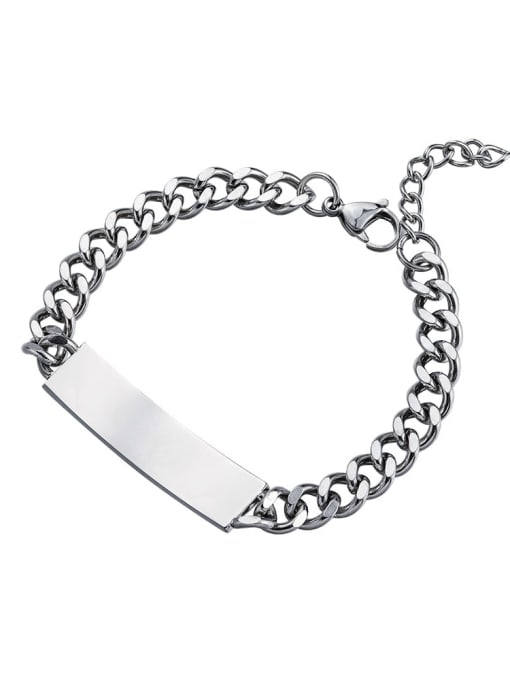Steel color (20 +5cm) Titanium Steel Geometric Hip Hop Link Bracelet