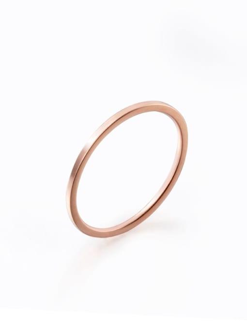 rose gold Titanium Steel Round Minimalist Band Ring