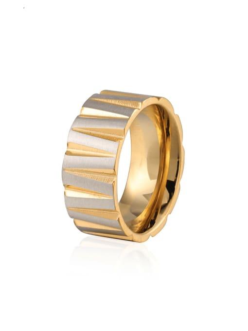 WOLF Titanium Steel Round Hip Hop Band Ring 0