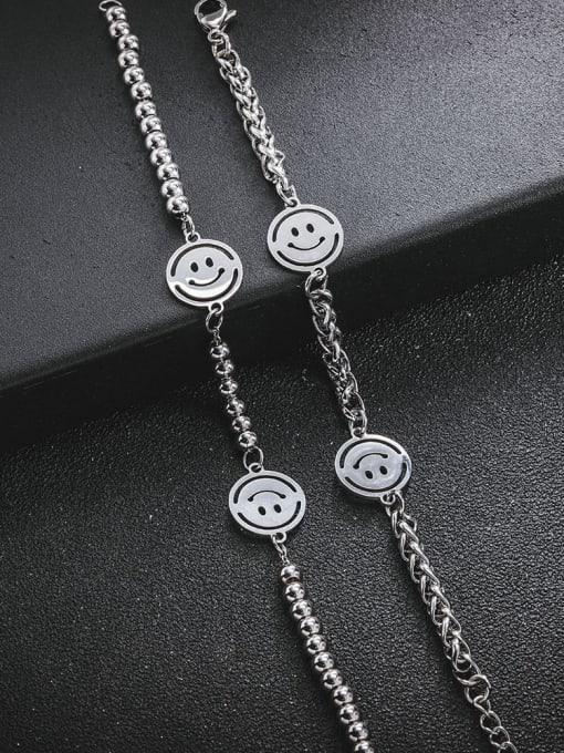 WOLF Titanium Steel Smiley Minimalist Beaded Bracelet 2