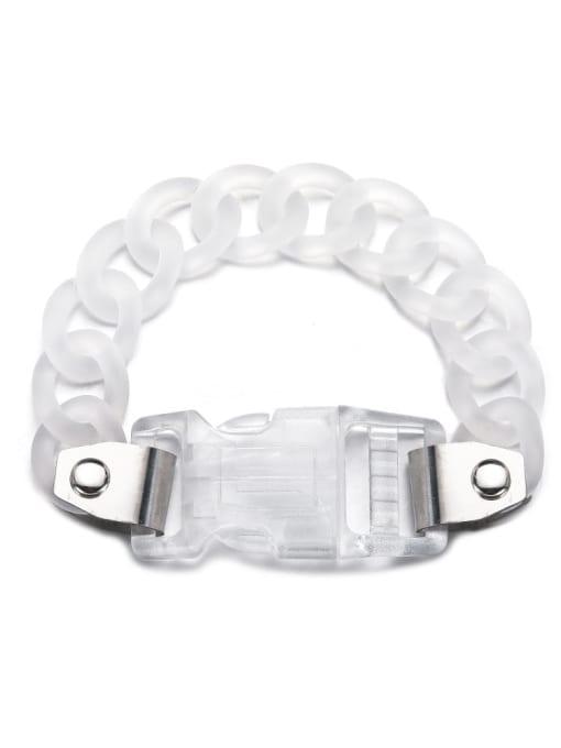 WOLF Titanium Steel Acrylic Geometric Hip Hop Link Bracelet 3