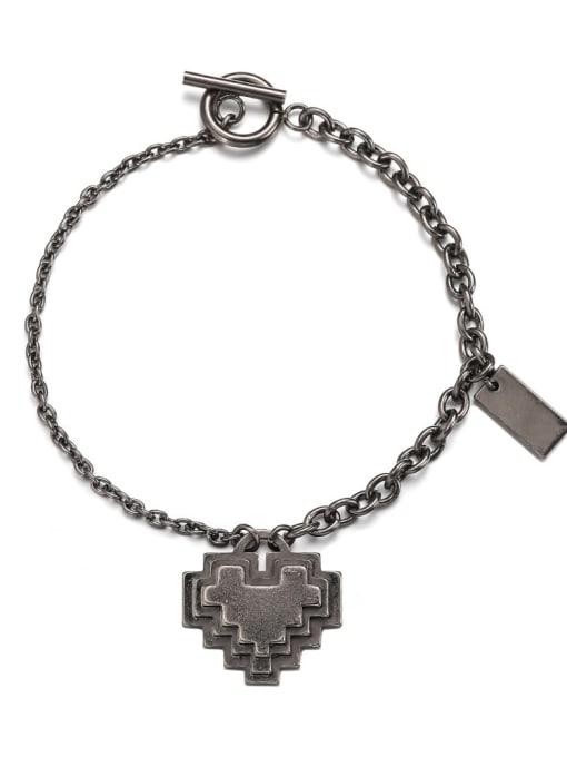 Ancient Titanium Steel Heart Hip Hop Link Bracelet