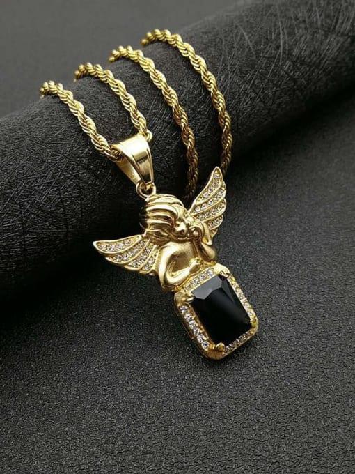 Gold Black Chain:3mm*61cm Titanium Steel Glass Stone Angel Vintage Necklace