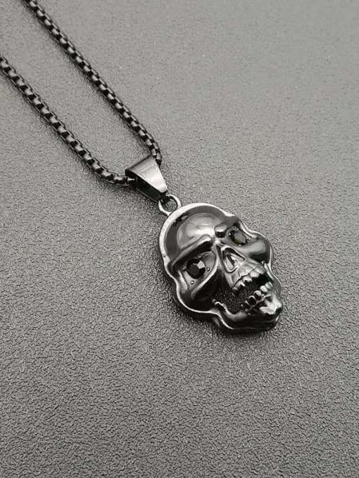 Black +Chain 3mm*61cm Titanium Steel Skull Hip Hop Necklace