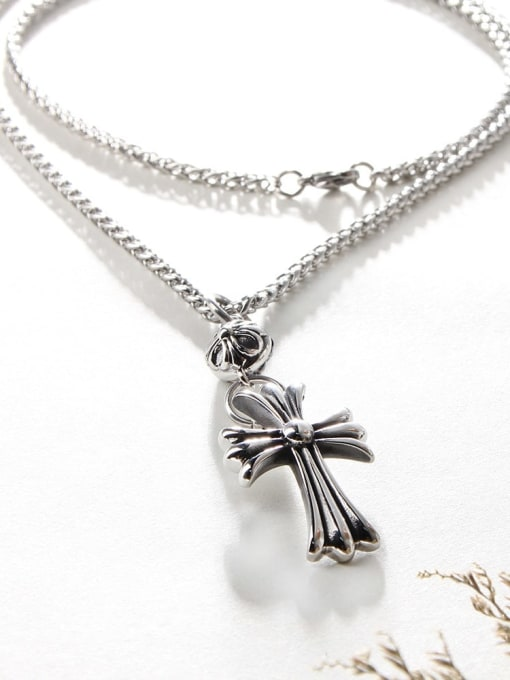 WOLF Titanium Steel Cross Hip Hop Necklace 1