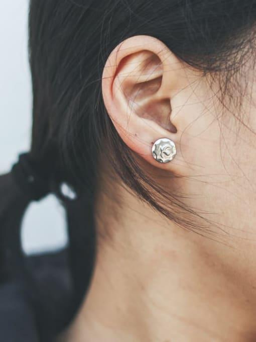 WOLF Titanium Steel Geometric Minimalist Stud Earring 1