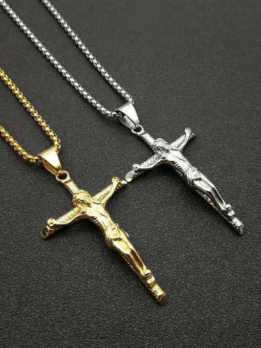 HI HOP Titanium Steel Religious Vintage Regligious Cross Pendant Necklace 0