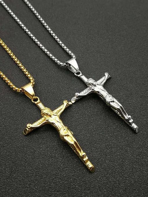 HI HOP Titanium Steel Religious Vintage Regligious Cross Pendant Necklace