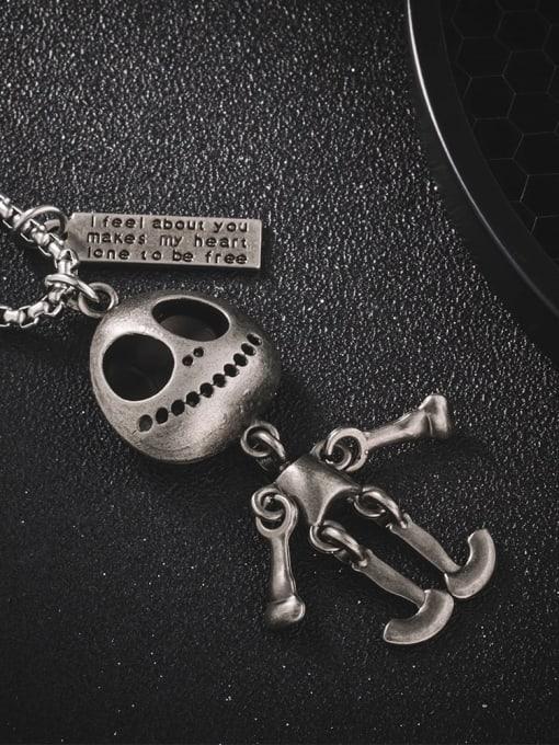 WOLF Titanium Steel Skull Hip Hop Long Strand Necklace 1
