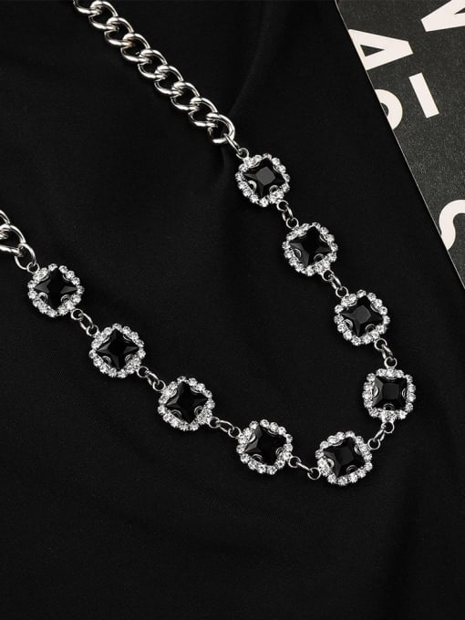 WOLF Alloy Cubic Zirconia Geometric Hip Hop Necklace 3