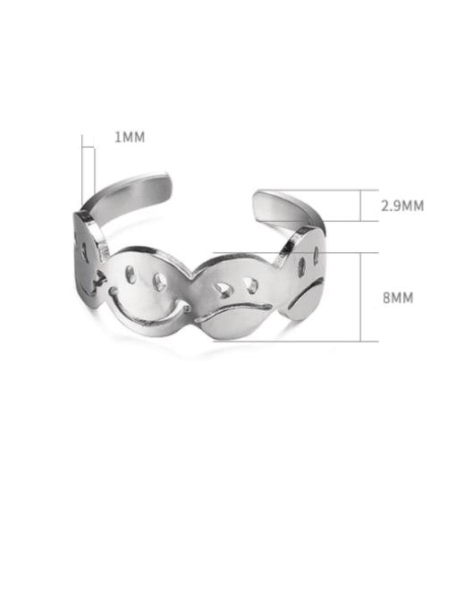 WOLF Titanium Steel Smiley Minimalist Band Ring 3