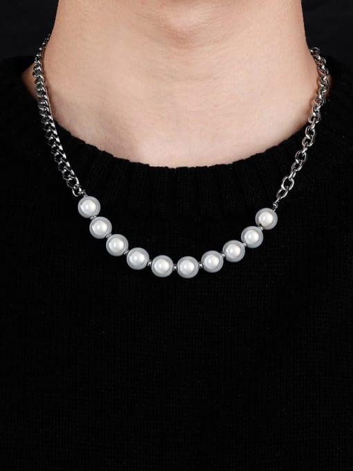 WOLF Titanium Steel Imitation Pearl Geometric Hip Hop Necklace 1