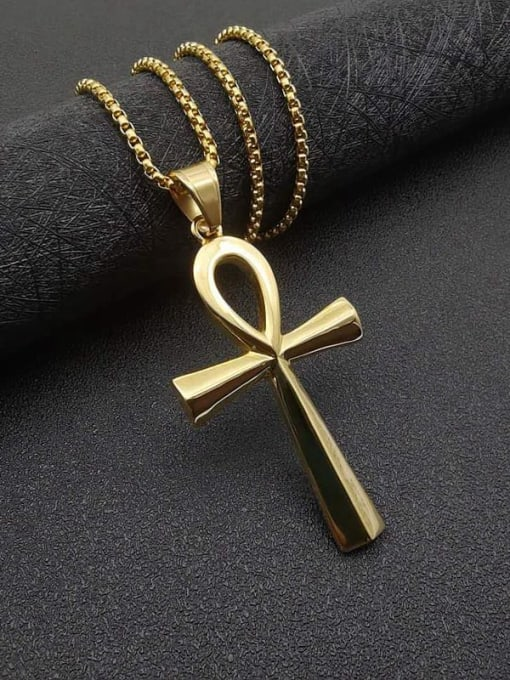 Gold large +Chain:3mm*61cm Titanium Steel Smooth Cross Vintage Necklace