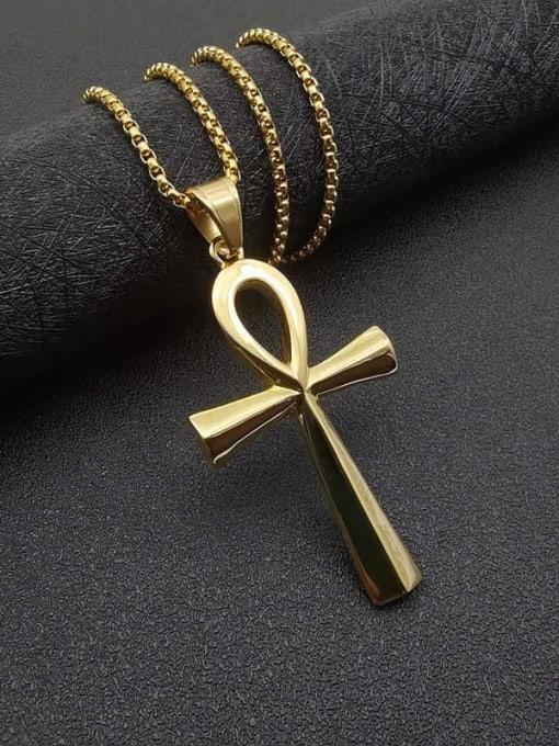 HI HOP Titanium Steel Smooth Cross Vintage Necklace 3