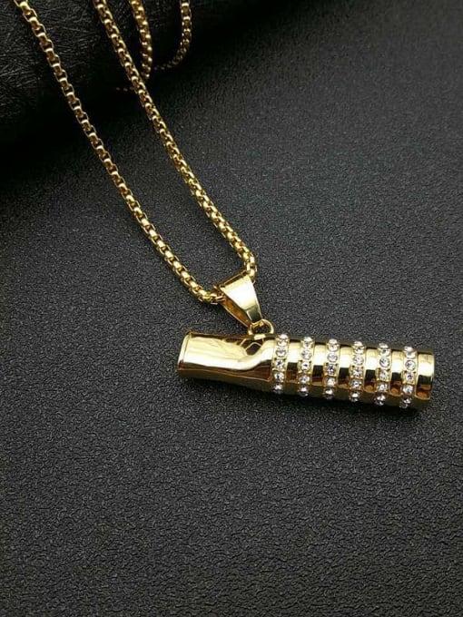 Gold +Chain:3mm*61cm Titanium Steel Rhinestone Mouth Vintage Necklace