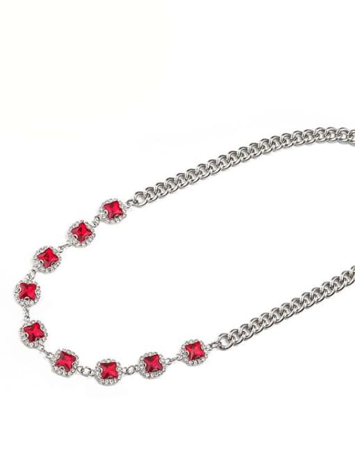 Steel red (8*45cm) Alloy Cubic Zirconia Geometric Hip Hop Necklace