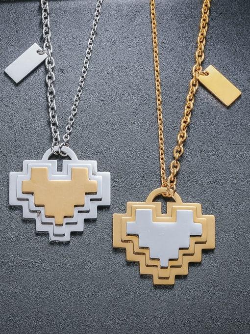 WOLF Titanium Steel Heart Minimalist Necklace 1