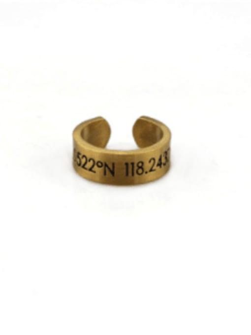 WOLF Titanium Steel Number Vintage Band Ring