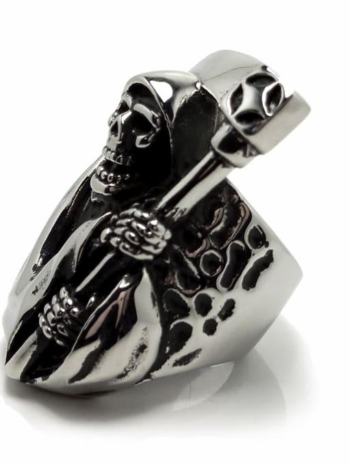HI HOP Titanium Steel Skull Vintage Band Ring 2