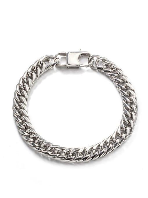 Steel color (8mm*21cm) Titanium Steel Irregular Hip Hop Link Bracelet