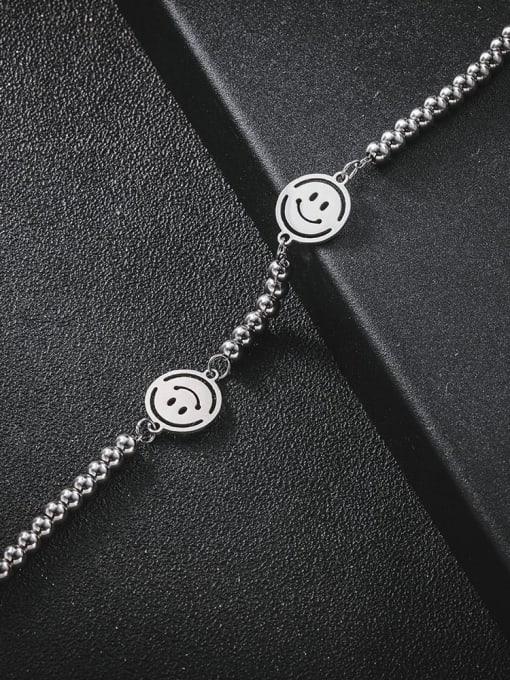 WOLF Titanium Steel Smiley Minimalist Beaded Bracelet 3