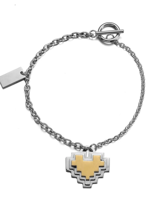 WOLF Titanium Steel Heart Hip Hop Link Bracelet
