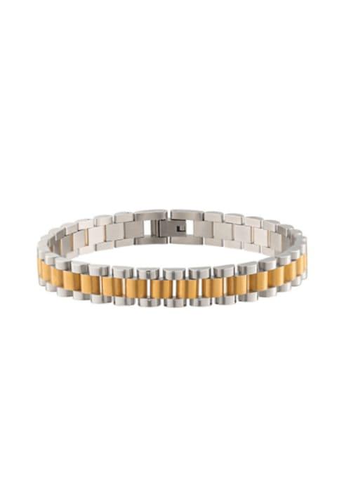WOLF Titanium Steel Geometric Minimalist Link Bracelet 4