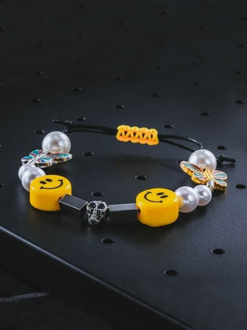 WOLF Titanium Steel Imitation Pearl Enamel Dice Hip Hop Adjustable Bracelet 2