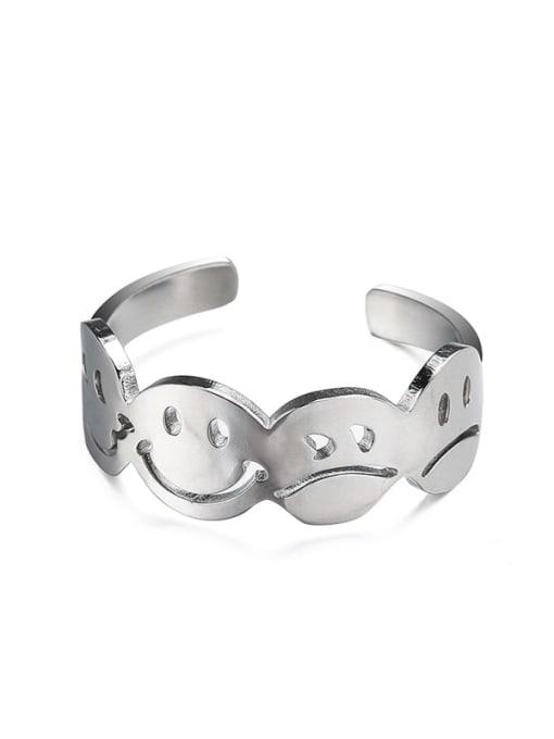 8 steel color adjustable Titanium Steel Smiley Minimalist Band Ring