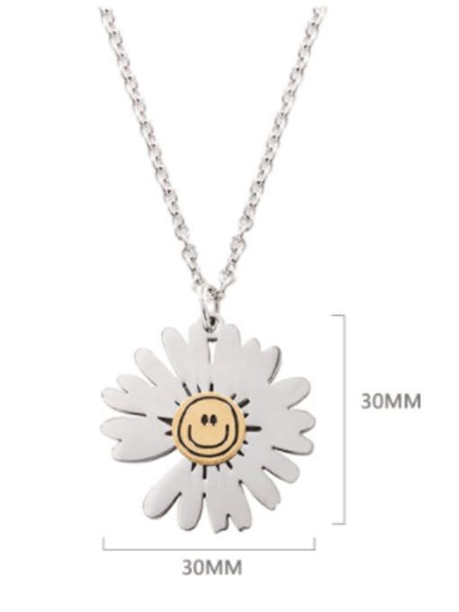 WOLF Titanium Steel Flower Hip Hop Necklace 2