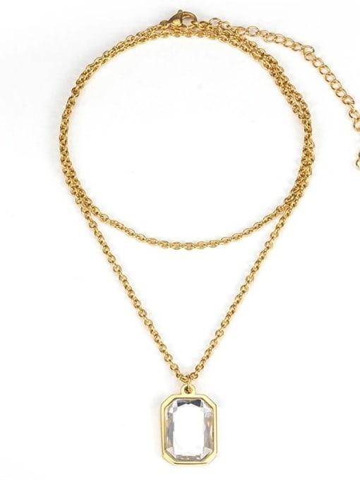 White gem (without chain) Titanium Steel Glass Stone Geometric Minimalist Long Strand Necklace