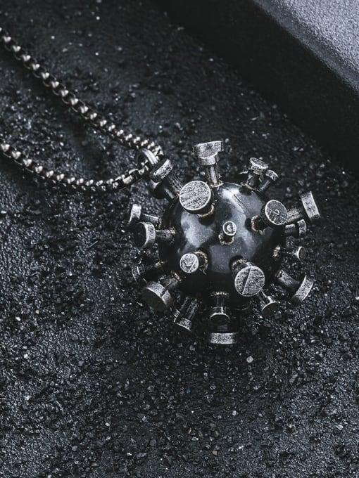 WOLF Titanium Steel  Irregular Virus Shape Necklace 1