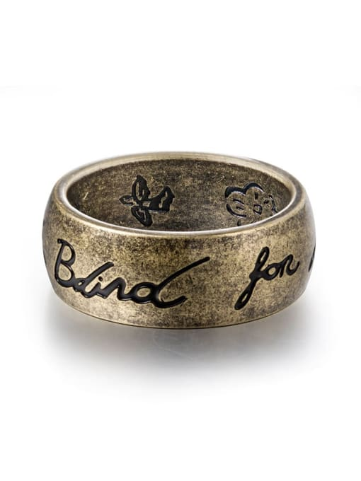 Bronze Titanium Steel Flower Vintage Band Ring