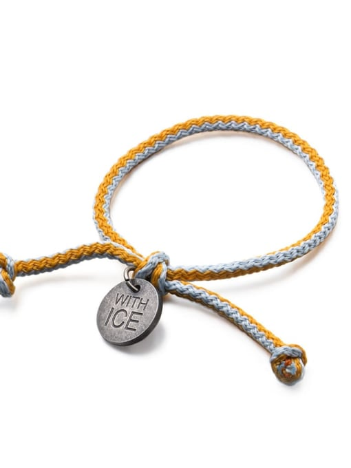 Sky blue orange rope Titanium Steel Bowknot Hip Hop Woven Bracelet