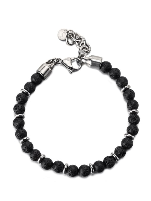 WOLF Titanium Steel Obsidian Geometric Vintage Beaded Bracelet 0