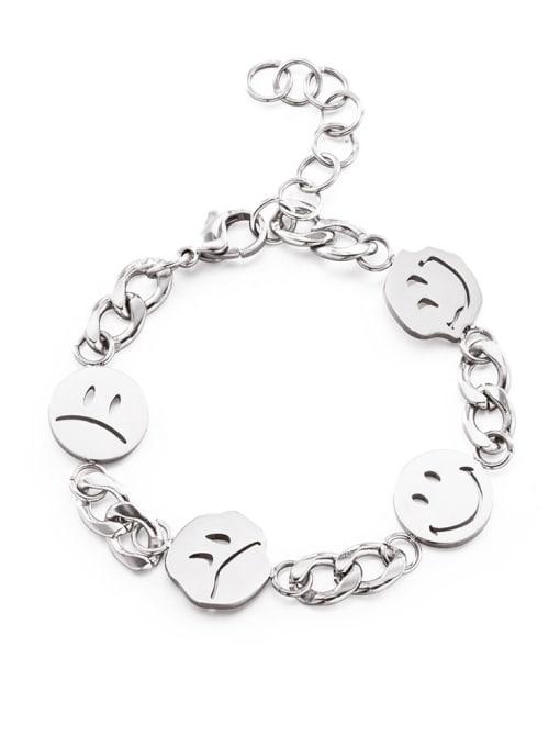 WOLF Titanium Steel Smiley Minimalist Link Bracelet 0