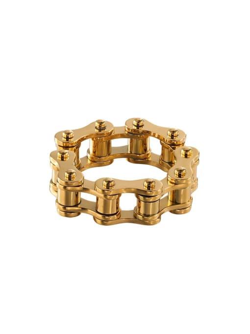 golden Titanium Steel Irregular Vintage Band Ring